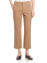 Vince Cropped Flared Chino Pants Khaki