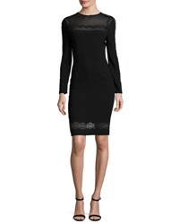 Elie Tahari Candice Long Sleeve Lace Trimmed Sheath Dress Black