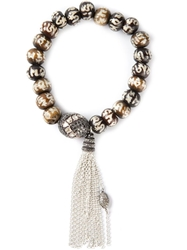 Loree Rodkin Beaded Tassel Bracelet Brown