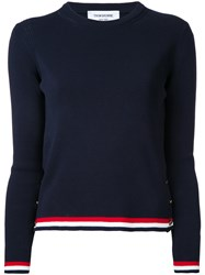 Thom Browne Striped Detail Knitted Top Blue