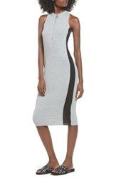 Love Fire Women's Side Stripe Rib Knit Dress Grey Navy