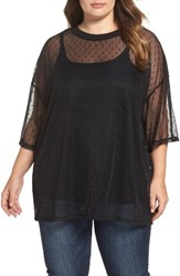 Glamorous Plus Size Women's Embroidered Mesh Top