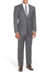Hart Schaffner Marx 'New York' Classic Fit Plaid Wool Suit Gray