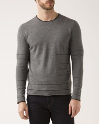 Ikks Black Crew Neck Sweater With Gray Motifs