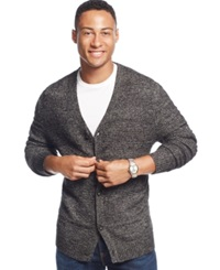 Club Room Allover Textured Farisle Cardigan Only At Macy's Deep Black Marl