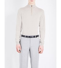 Canali Zip Collar Knitted Jumper Beige