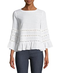 Tahari By Arthur S. Levine Taner Lace Trimmed Bell Sleeve Blouse Ivory