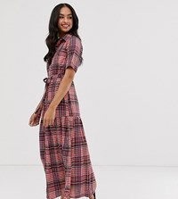 Lost Ink Midi Shirt Dress In Check Red