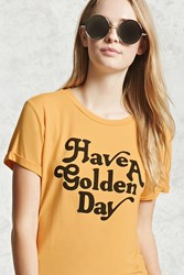 Forever 21 Golden Day Graphic Tee Yellow Black