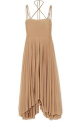 Awake A.W.A.K.E. Maya Asymmetric Pleated Chiffon Dress Beige