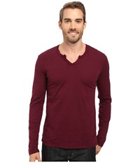 Mod O Doc Les Carillo Long Sleeve Notch Slub Jersey V Neck Wine Men's Clothing Burgundy