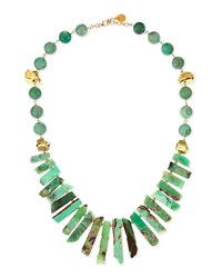 Long Chrysoprase Spike And Gold Dipped Nugget Necklace Devon Leigh Aqua Green