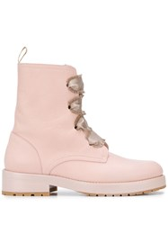 Red Valentino Redvalentino V Lace Up Combat Boots Pink