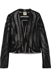 Haute Hippie Mesh Paneled Studded Leather Jacket Black