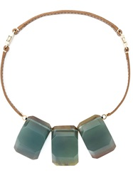 Marni Three Stone Pendant Necklace Brown