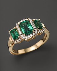 Bloomingdale's Emerald And Diamond 3 Stone Ring In 14K Yellow Gold White Green
