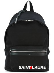 Saint Laurent Contrast Logo 'City' Backpack Men Cotton One Size Black
