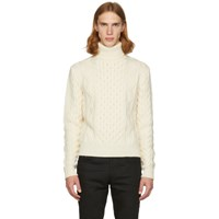 Saint Laurent Off White Cable Knit Turtleneck