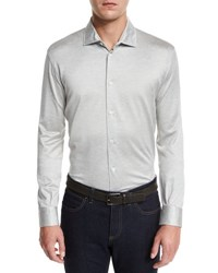 Ermenegildo Zegna Long Sleeve Button Down Polo Shirt Gray Dk Gry Sld
