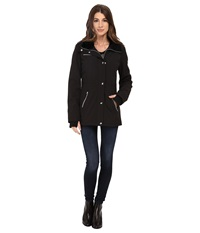 Jessica Simpson Zip Front Soft Shell With Faux Fur Black Women's Clothing