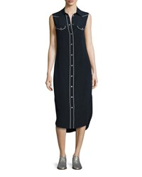 Rag And Bone Jesse Sleeveless Western Midi Shirtdress Dark Blue