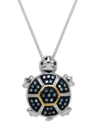 Lord And Taylor Sterling Silver And 14 Kt. Yellow Gold Diamond Turtle Pendant Black And Green Diamonds
