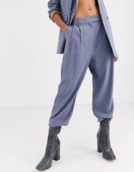Topshop Tailored Trousers In Dusty Blue