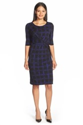 Hugo Boss 'Empiria' Windowpane Print Jersey Sheath Dress Blue
