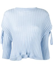 Helmut Lang Ribbed Tie Sleeve Sweater Women Cashmere M Blue