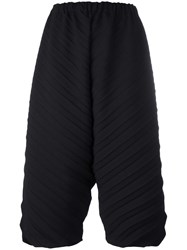 Issey Miyake Cauliflower Cropped Ribbed Trousers Black