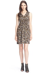 Burberry Brit 'Persa' Camo Print Textured Mulberry Silk Dress Sage