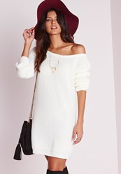 Missguided Off Shoulder Knit Sweater Dress Cream