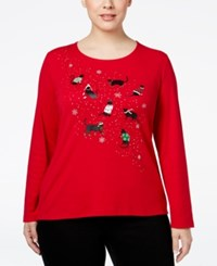 Karen Scott Plus Size Holiday Cat Graphic Top Only At Macy's New Red Amore
