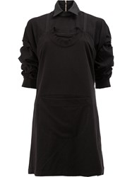 Aganovich Ruched Sleeve Dress Black