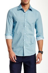 Report Collection Flower And Stem Long Sleeve Modern Fit Sport Shirt Blue