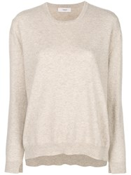Pringle Of Scotland Classic Long Sleeve Sweater Nude And Neutrals