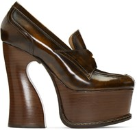 Maison Martin Margiela Brown Leather Loafer Heels