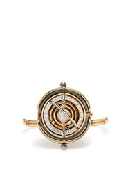 Elie Top Diamond Silver And Gold Pluton Ring
