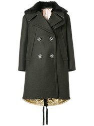 N 21 No21 Oversize Double Breasted Coat Polyamide Acetate Viscose Wool Green