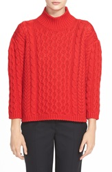 Simone Rocha Chunky Cable Knit Sweater Red