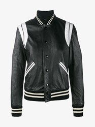Saint Laurent Leather And Wool Teddy Jacket Black White
