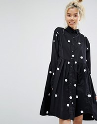 Lazy Oaf Mono Big Dot Oversized Shirt Smock Dress Black White