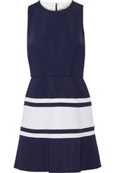 Tanya Taylor Lora Two Tone Scuba Mini Dress Midnight Blue