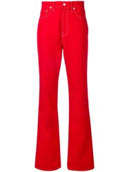 Helmut Lang Wide Leg Jeans Red