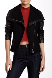 Doma Detachable Sleeve Wool Blend Leather Jacket Black