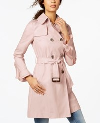 T Tahari Ruffled Sleeve Belted Trenchcoat Dusty Pink