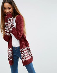 Asos Cardigan In Christmas Fair Isle Dk Red