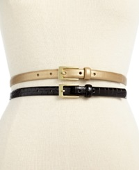 Style And Co. 2 For 1 Croco Patent Belt Black Gold