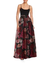 Eliza J Floral Pleated Maxi Skirt Pink Multi