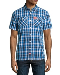Superdry Washbasket Woven Check Shirt Blue